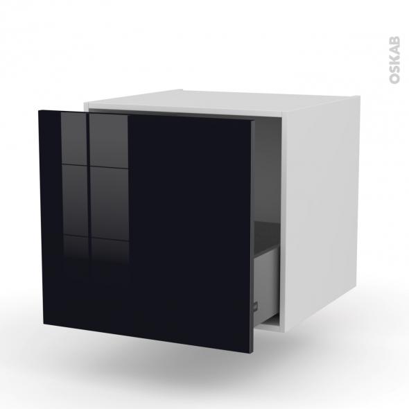 Meuble de cuisine - Bas suspendu - KERIA Noir - 1 casserolier - L60 x H57 x P58 cm