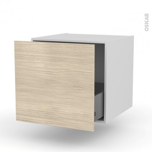 Meuble de cuisine - Bas suspendu - STILO Noyer Blanchi - 1 casserolier - L60 x H57 x P58 cm