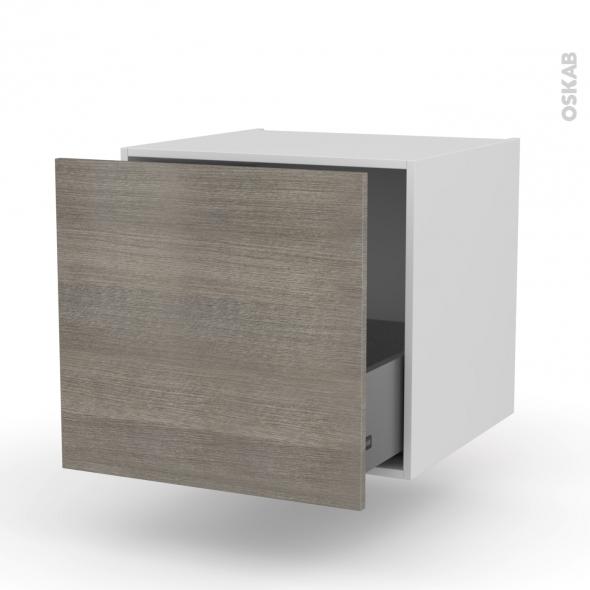 Meuble de cuisine - Bas suspendu - STILO Noyer Naturel - 1 casserolier - L60 x H57 x P58 cm