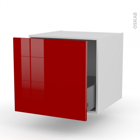 Meuble de cuisine - Bas suspendu - STECIA Rouge - 1 casserolier - L60 x H57 x P58 cm
