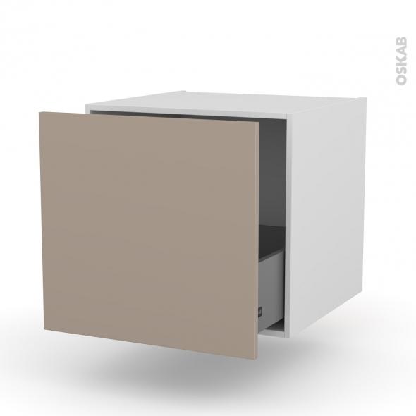 Meuble de cuisine - Bas suspendu - GINKO Taupe - 1 casserolier - L60 x H57 x P58 cm