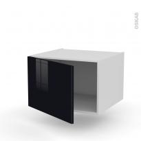 Meuble de cuisine - Bas suspendu - KERIA Noir - 1 porte - L60 x H41 x P58 cm