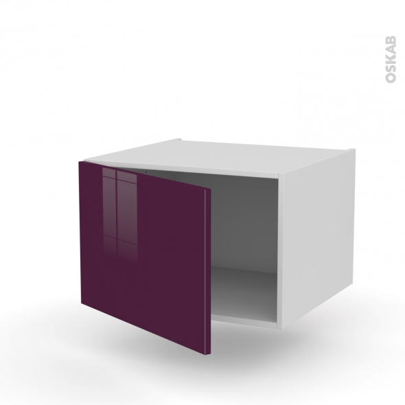 Meuble de cuisine - Bas suspendu - KERIA Aubergine - 1 porte - L60 x H41 x P58 cm