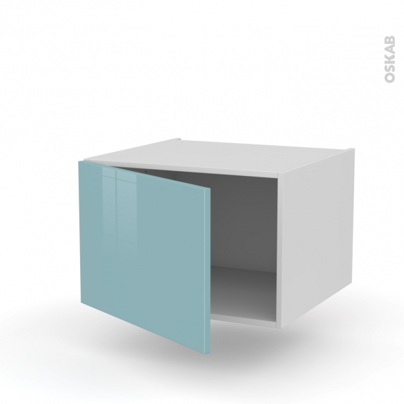 Meuble de cuisine - Bas suspendu - KERIA Bleu - 1 porte - L60 x H41 x P58 cm