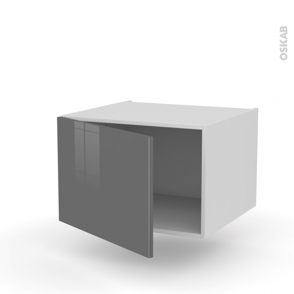 Meuble de cuisine - Bas suspendu - STECIA Gris - 1 porte - L60 x H41 x P58 cm