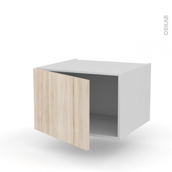 Meuble de cuisine - Bas suspendu - IKORO Chêne clair - 1 porte - L60 x H41 x P58 cm