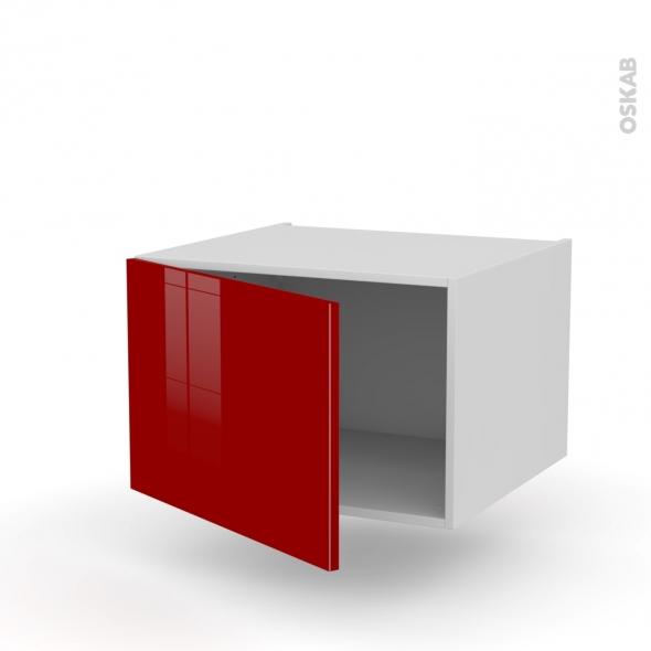Meuble de cuisine - Bas suspendu - STECIA Rouge - 1 porte - L60 x H41 x P58 cm