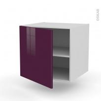 Meuble de cuisine - Bas suspendu - KERIA Aubergine - 1 porte - L60 x H57 x P58 cm