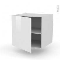 Meuble de cuisine - Bas suspendu - STECIA Blanc - 1 porte - L60 x H57 x P58 cm