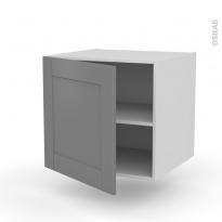 Meuble de cuisine - Bas suspendu - FILIPEN Gris - 1 porte - L60 x H57 x P58 cm