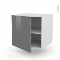 Meuble de cuisine - Bas suspendu - STECIA Gris - 1 porte - L60 x H57 x P58 cm