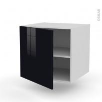 Meuble de cuisine - Bas suspendu - KERIA Noir - 1 porte - L60 x H57 x P58 cm