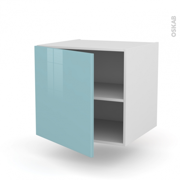 Meuble de cuisine - Bas suspendu - KERIA Bleu - 1 porte - L60 x H57 x P58 cm