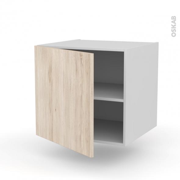Meuble de cuisine - Bas suspendu - IKORO Chêne clair - 1 porte - L60 x H57 x P58 cm
