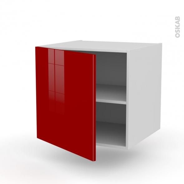 Meuble de cuisine - Bas suspendu - STECIA Rouge - 1 porte - L60 x H57 x P58 cm