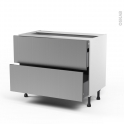STILO Inox - Meuble casserolier - 2 tiroirs-1 tiroir anglaise - L100xH70xP58