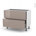 Meuble de cuisine - Casserolier - KERIA Moka - 2 tiroirs 1 tiroir à l'anglaise - L100 x H70 x P58 cm
