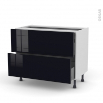 Meuble de cuisine - Casserolier - KERIA Noir - 2 tiroirs - L100 x H70 x P58 cm