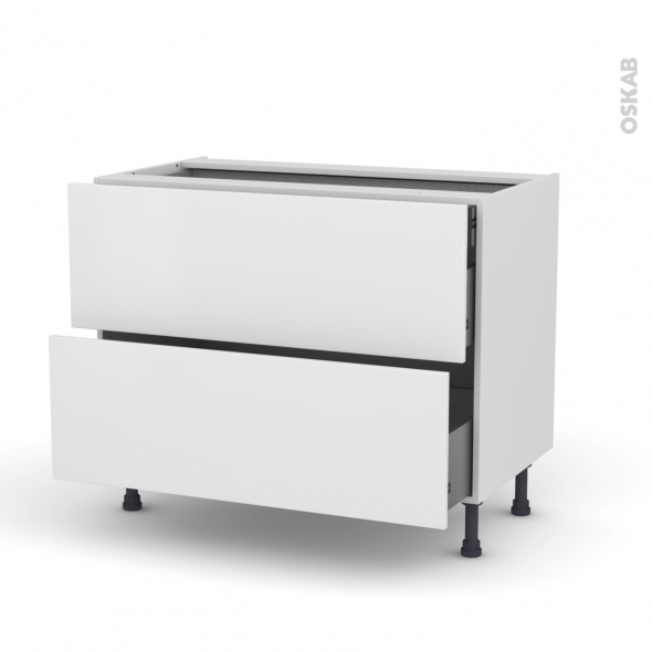 Meuble de cuisine - Casserolier - GINKO Blanc - 2 tiroirs 1 tiroir à l'anglaise - L100 x H70 x P58 cm