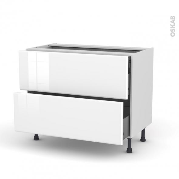 Meuble de cuisine - Casserolier - IRIS Blanc - 2 tiroirs 1 tiroir à l'anglaise - L100 x H70 x P58 cm