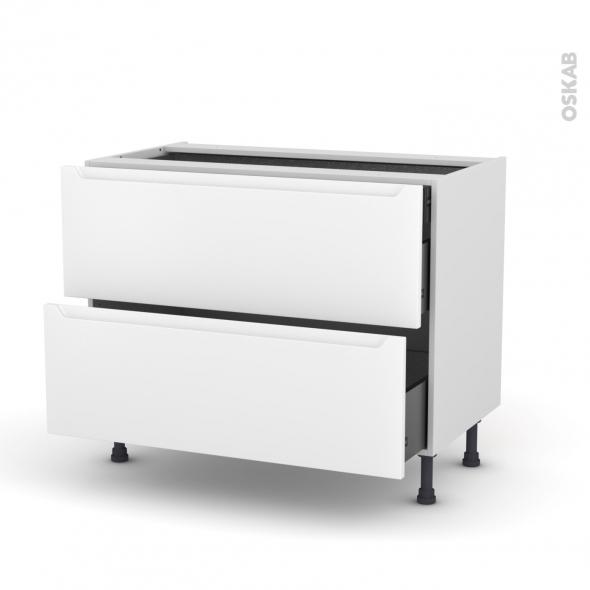 Meuble de cuisine - Casserolier - PIMA Blanc - 2 tiroirs 1 tiroir à l'anglaise - L100 x H70 x P58 cm