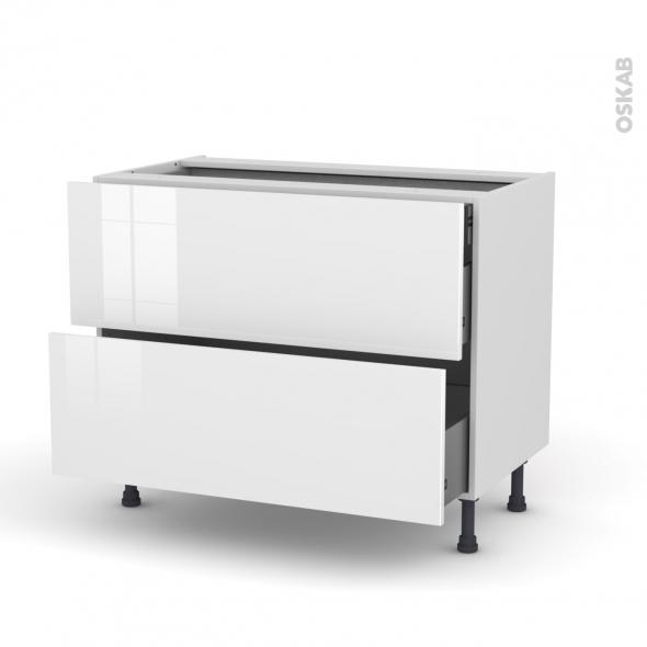 Meuble de cuisine - Casserolier - STECIA Blanc - 2 tiroirs 1 tiroir à l'anglaise - L100 x H70 x P58 cm