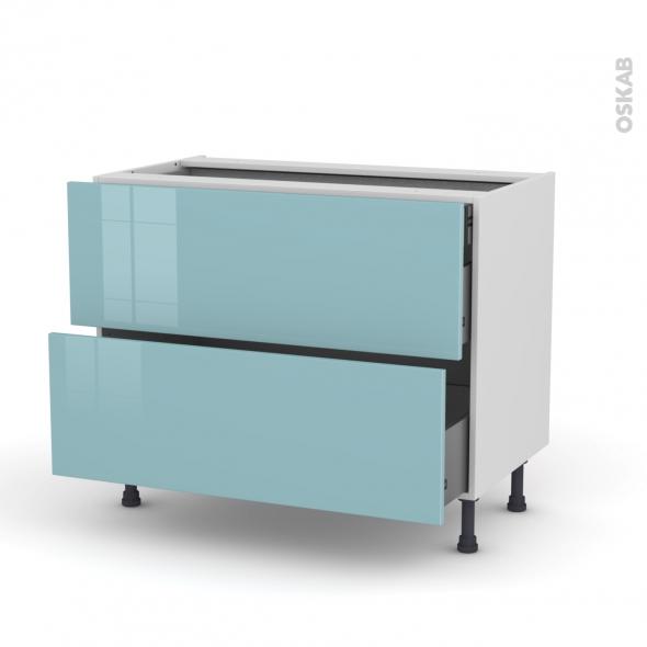 Meuble de cuisine - Casserolier - KERIA Bleu - 2 tiroirs 1 tiroir à l'anglaise - L100 x H70 x P58 cm