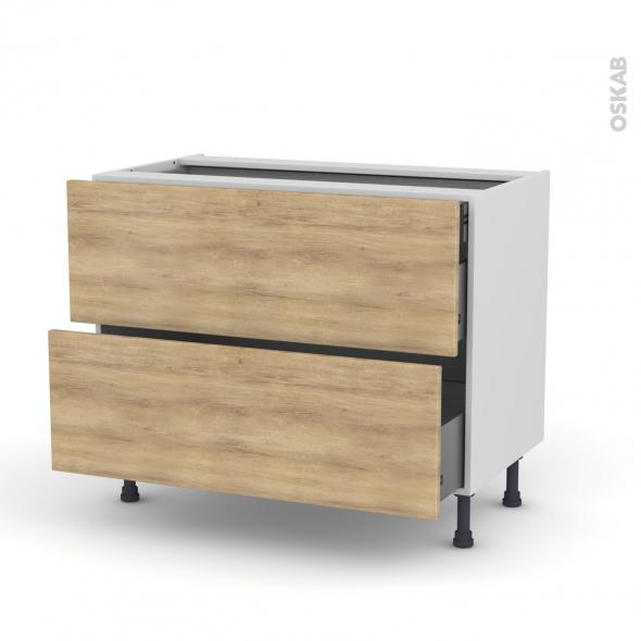 Meuble de cuisine - Casserolier - HOSTA Chêne naturel - 2 tiroirs 1 tiroir à l'anglaise - L100 x H70 x P58 cm
