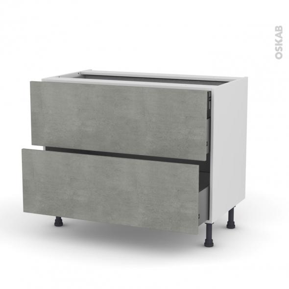 FAKTO Béton - Meuble casserolier - 2 tiroirs-1 tiroir anglaise - L100xH70xP58
