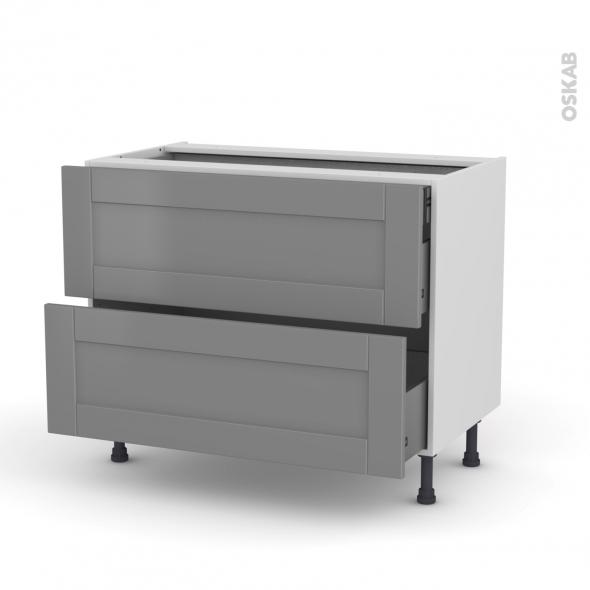 Meuble de cuisine - Casserolier - FILIPEN Gris - 2 tiroirs 1 tiroir à l'anglaise - L100 x H70 x P58 cm