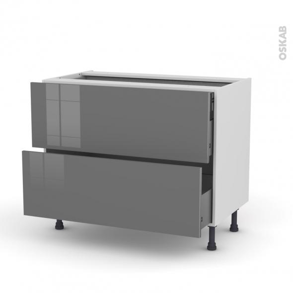 Meuble de cuisine - Casserolier - STECIA Gris - 2 tiroirs 1 tiroir à l'anglaise - L100 x H70 x P58 cm