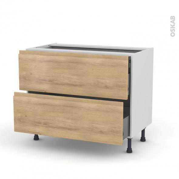 Meuble de cuisine - Casserolier - IPOMA Chêne naturel - 2 tiroirs 1 tiroir à l'anglaise - L100 x H70 x P58 cm