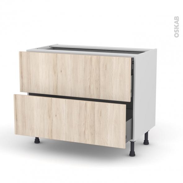 Meuble de cuisine - Casserolier - IKORO Chêne clair - 2 tiroirs 1 tiroir à l'anglaise - L100 x H70 x P58 cm