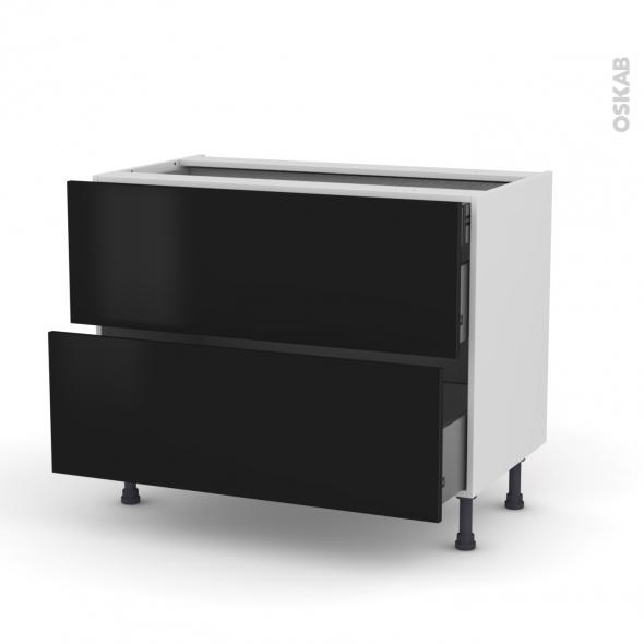 GINKO Noir - Meuble casserolier - 2 tiroirs-1 tiroir anglaise - L100xH70xP58