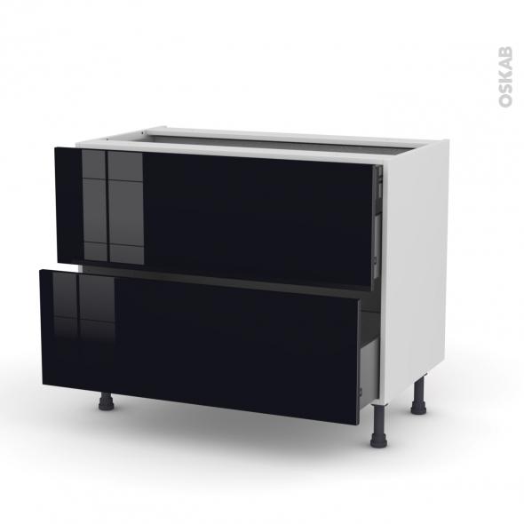KERIA Noir - Meuble casserolier  - 2 tiroirs - L100xH70xP58