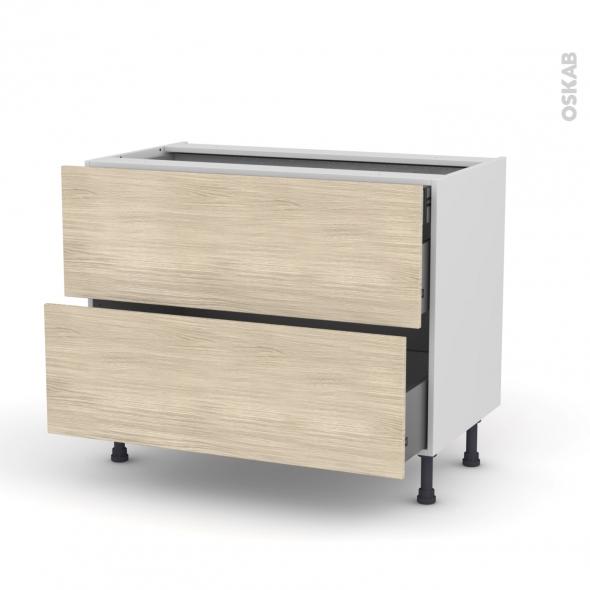Meuble de cuisine - Casserolier - STILO Noyer Blanchi - 2 tiroirs 1 tiroir à l'anglaise - L100 x H70 x P58 cm