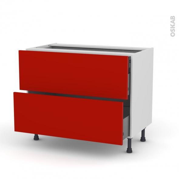 GINKO Rouge - Meuble casserolier - 2 tiroirs-1 tiroir anglaise - L100xH70xP58