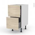 Meuble de cuisine - Casserolier - STILO Noyer Blanchi - 2 tiroirs 1 tiroir à l'anglaise - L40 x H70 x P58 cm