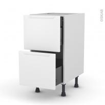 Meuble de cuisine - Casserolier - PIMA Blanc - 2 tiroirs 1 tiroir à l'anglaise - L40 x H70 x P58 cm