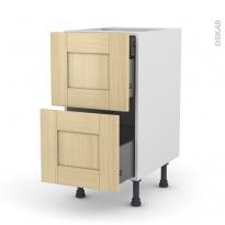 BASILIT Bois verni - Meuble casserolier - 2 tiroirs-1 tiroir anglaise - L40xH70xP58