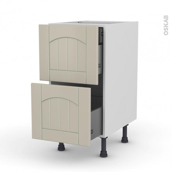 SILEN Argile - Meuble casserolier - 2 tiroirs-1 tiroir anglaise - L40xH70xP58