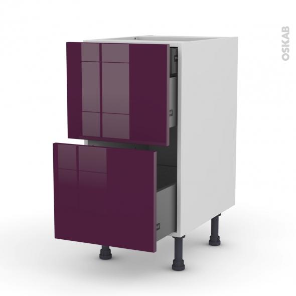 Meuble de cuisine - Casserolier - KERIA Aubergine - 2 tiroirs 1 tiroir à l'anglaise - L40 x H70 x P58 cm