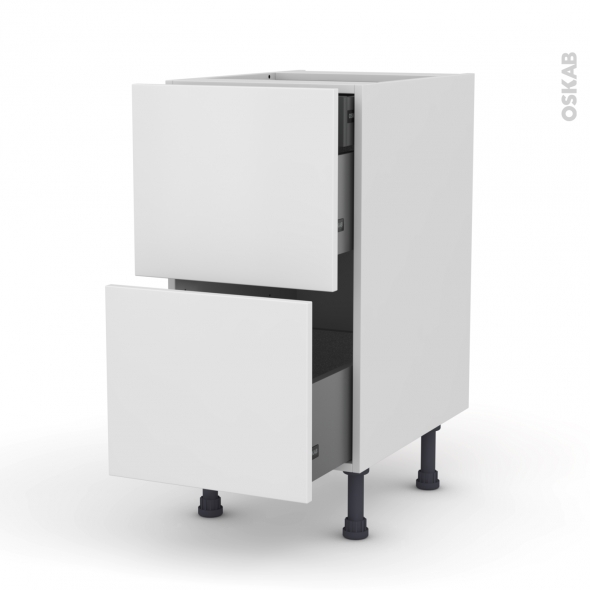 Meuble de cuisine - Casserolier - GINKO Blanc - 2 tiroirs 1 tiroir à l'anglaise - L40 x H70 x P58 cm