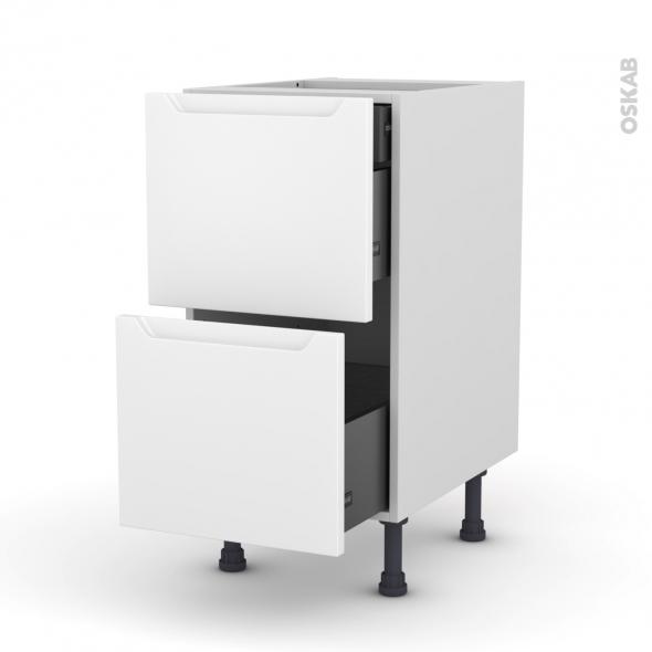 PIMA Blanc - Meuble casserolier - 2 tiroirs-1 tiroir anglaise - L40xH70xP58