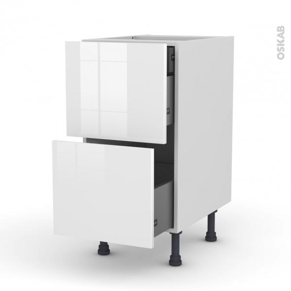 Meuble de cuisine - Casserolier - STECIA Blanc - 2 tiroirs 1 tiroir à l'anglaise - L40 x H70 x P58 cm