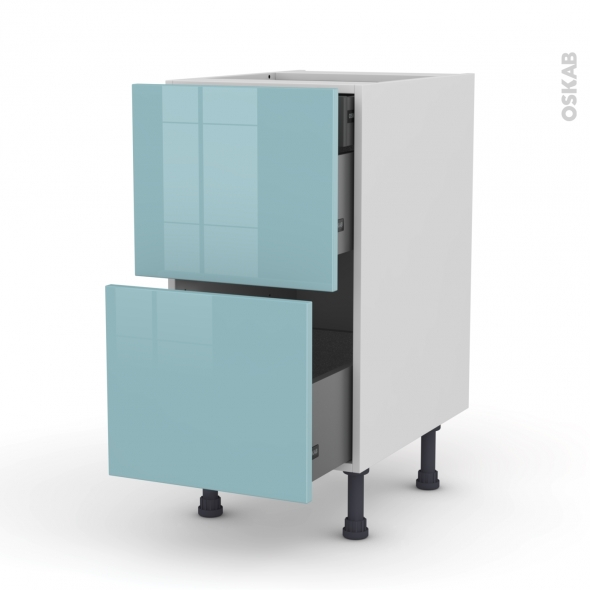 KERIA Bleu - Meuble casserolier - 2 tiroirs-1 tiroir anglaise - L40xH70xP58