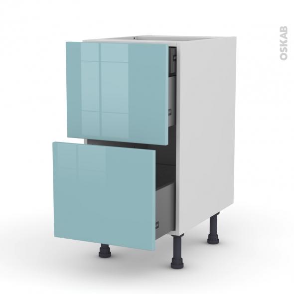 Meuble de cuisine - Casserolier - KERIA Bleu - 2 tiroirs 1 tiroir à l'anglaise - L40 x H70 x P58 cm