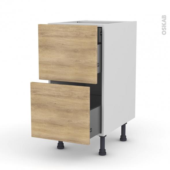 Meuble de cuisine - Casserolier - HOSTA Chêne naturel - 2 tiroirs 1 tiroir à l'anglaise - L40 x H70 x P58 cm