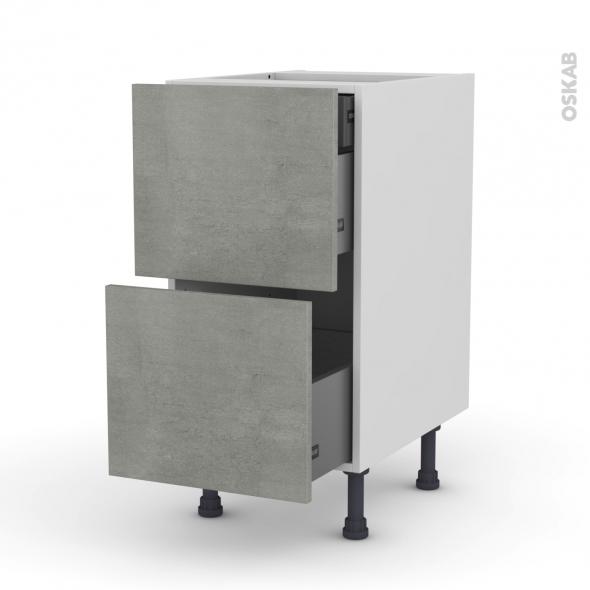 Meuble de cuisine - Casserolier - FAKTO Béton - 2 tiroirs 1 tiroir à l'anglaise - L40 x H70 x P58 cm