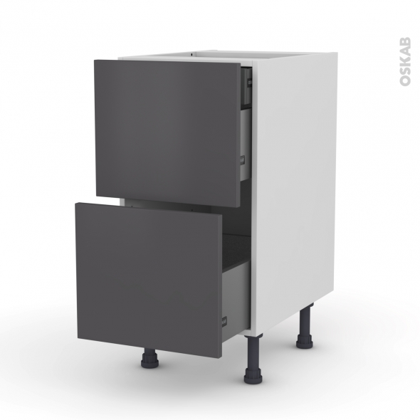 Meuble de cuisine - Casserolier - GINKO Gris - 2 tiroirs 1 tiroir à l'anglaise - L40 x H70 x P58 cm